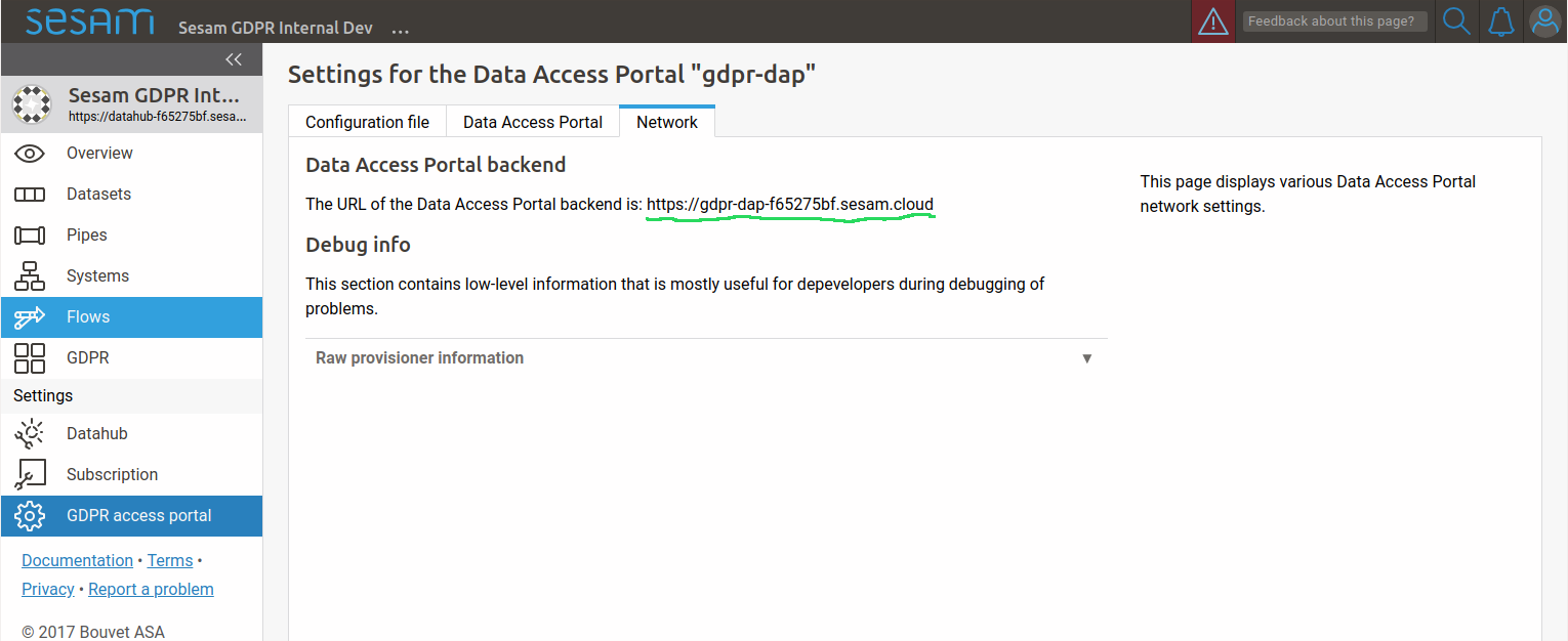 Data Access Portal backend url